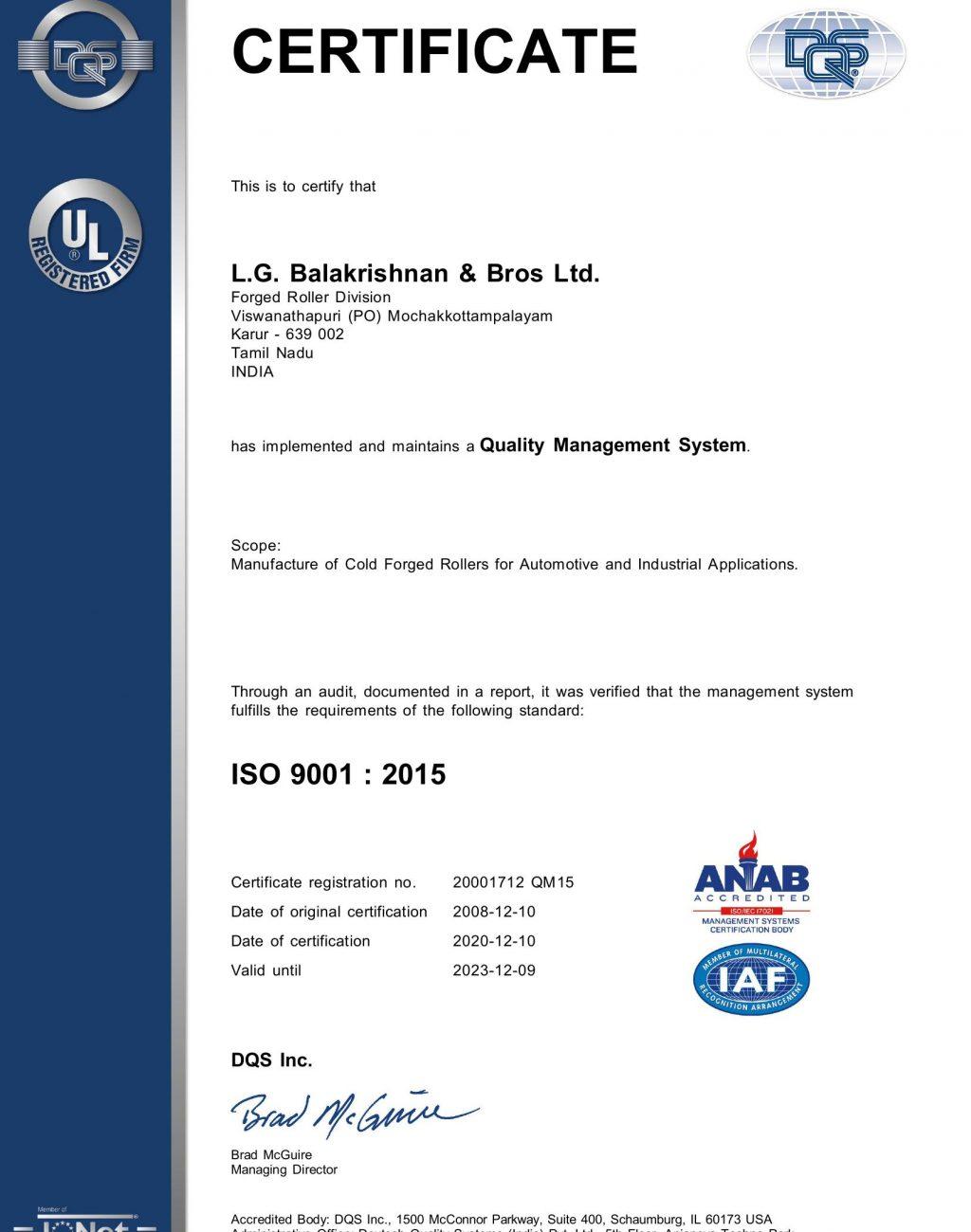 FRD ISO 9001 2015