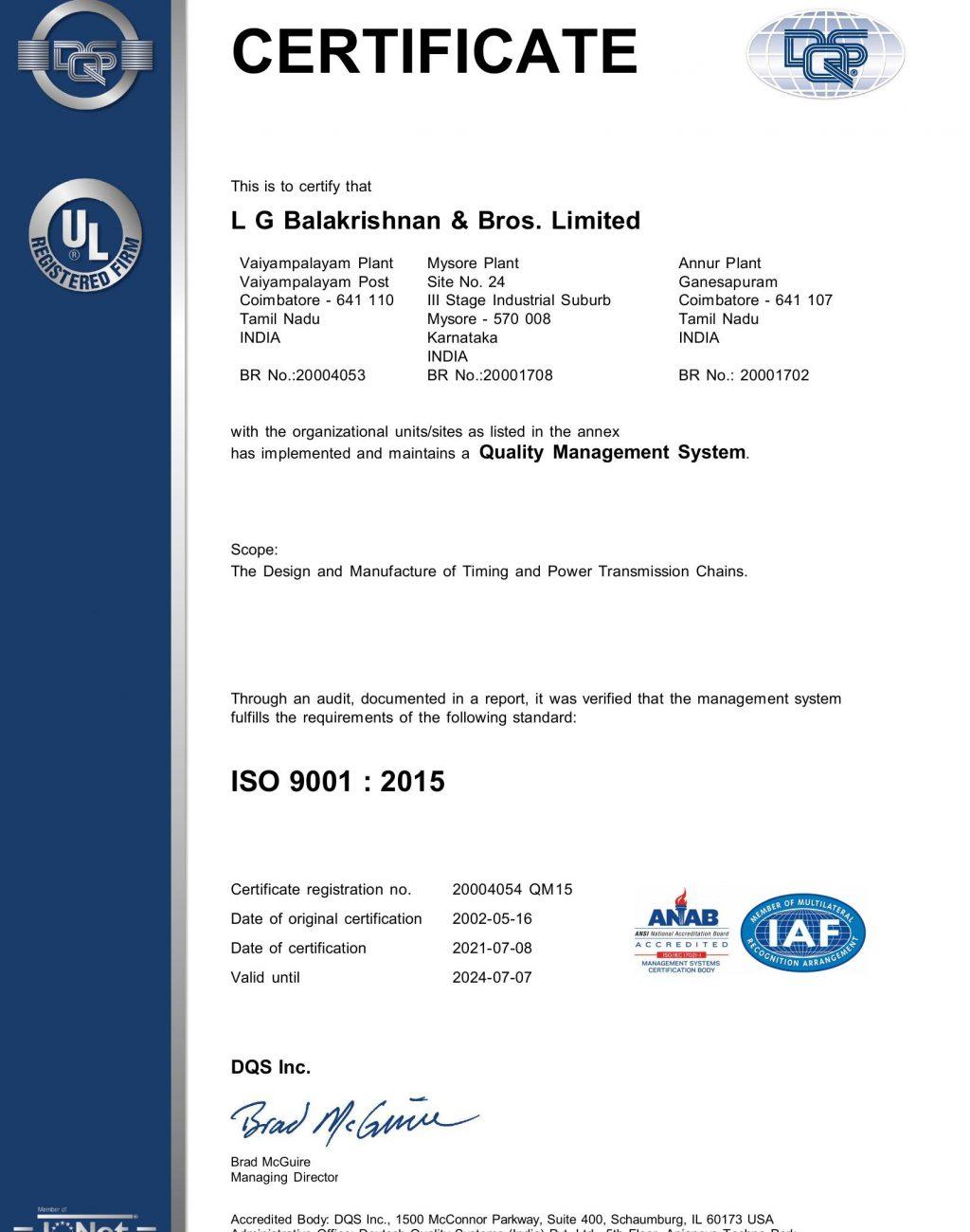 LGB Corporate ISO 9001 2015