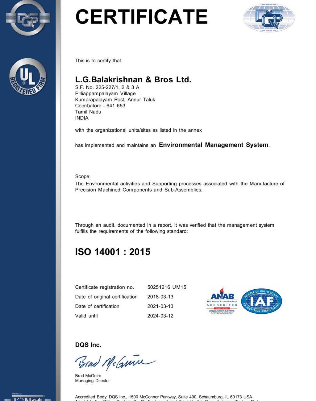 LGB P.Palayam_EMS ISO 14001 2015