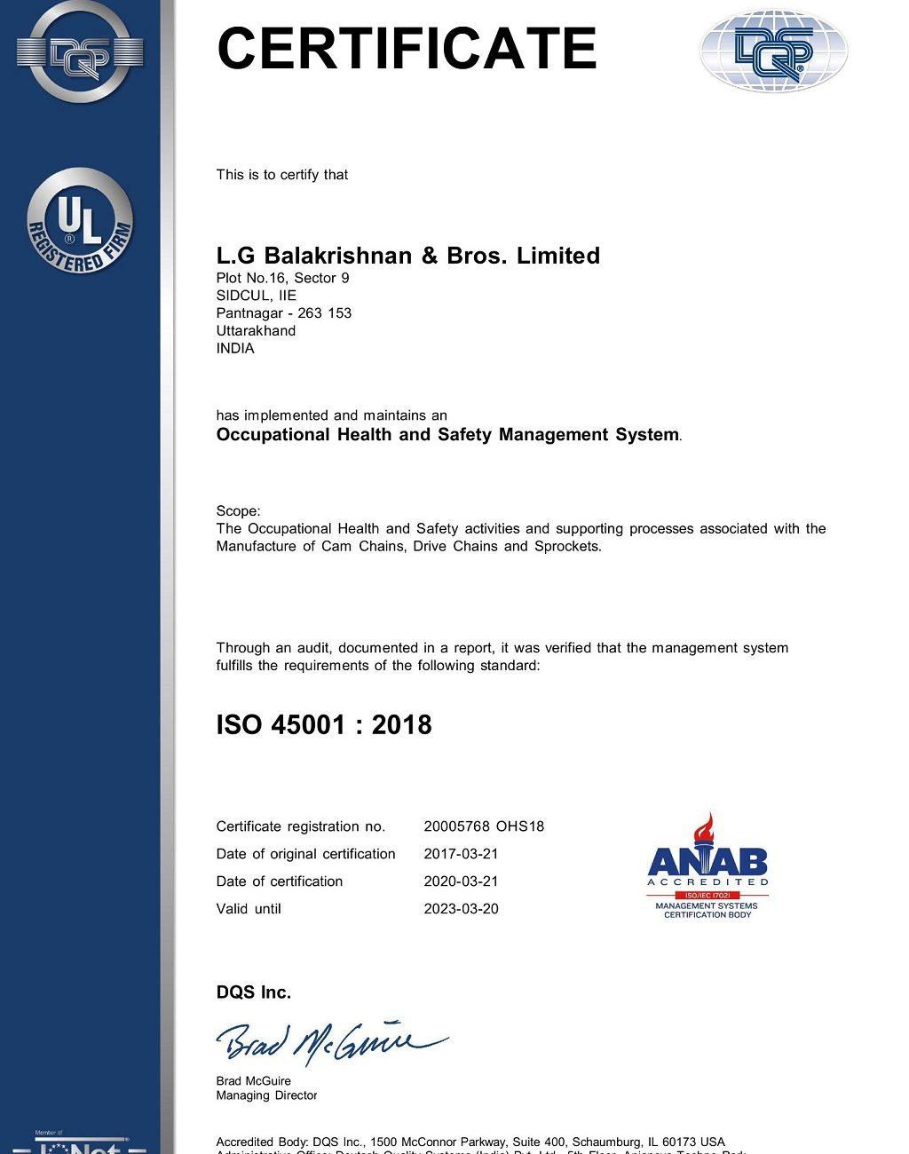 LGB Pantnagar OHSMS_ISO450012018