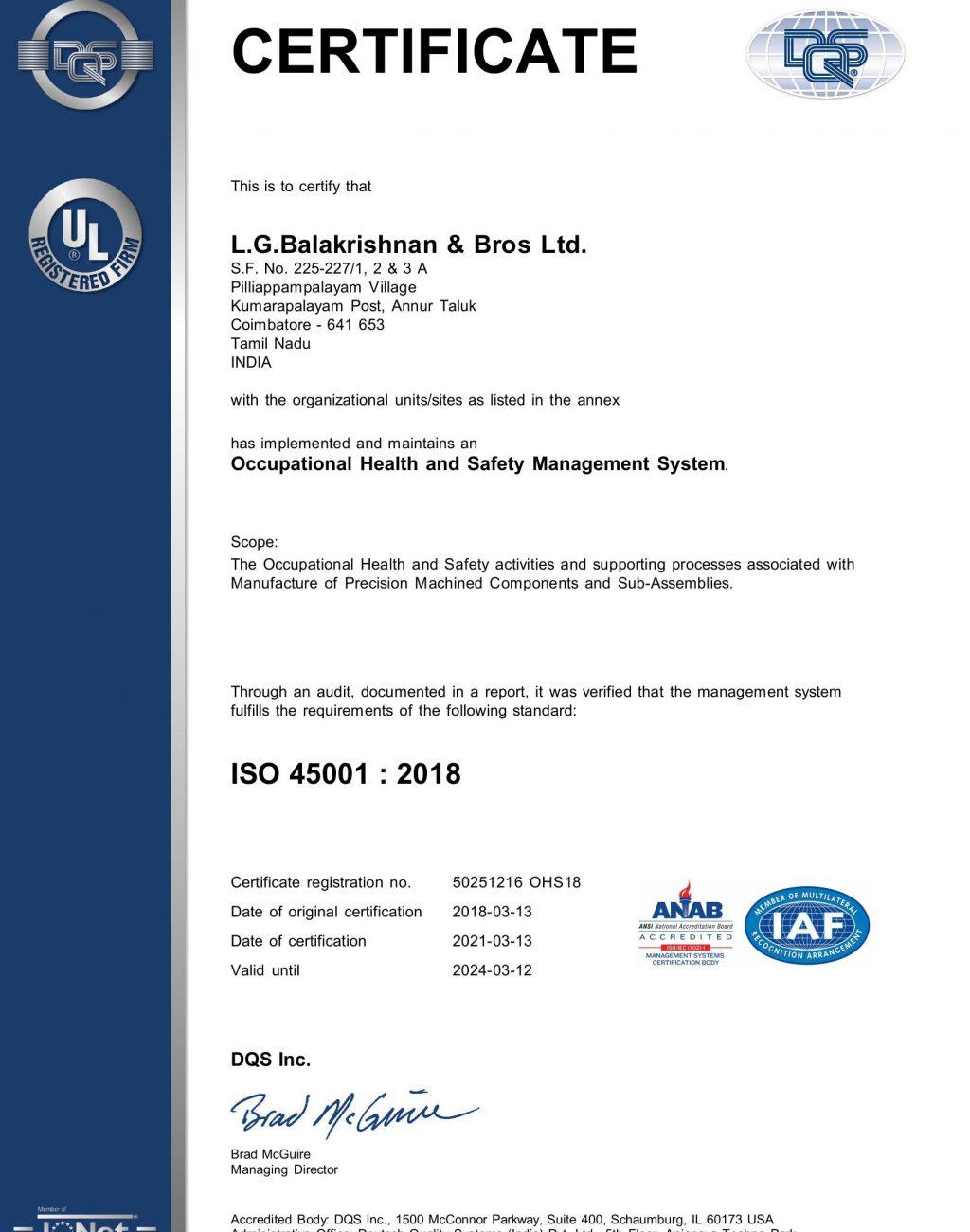 P.Palayam Plant ISO 45001 2018